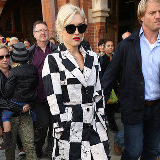 Gwen Stefani Wearing Checkered Coat