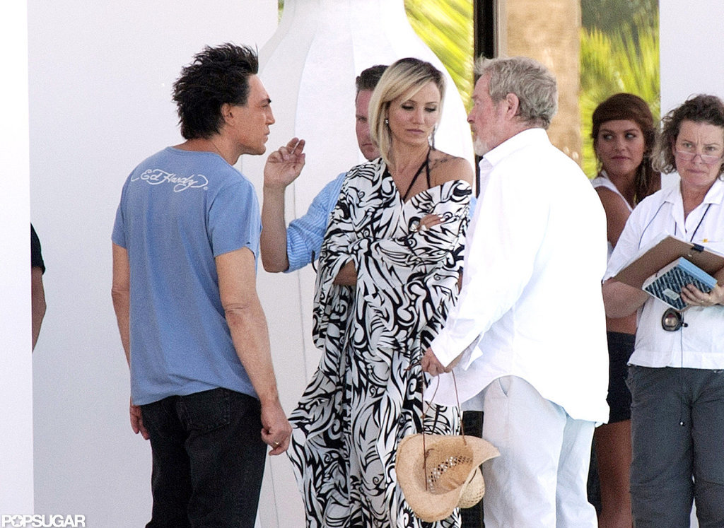 Cameron Diaz wore a printed number to film with Javier Bardem in Spain.
