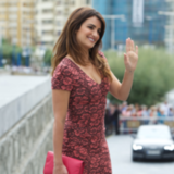 Penelope Cruz Wears Pink Coloured Lace L'Wren Dress at the 60th San Sebastian Film Festival
