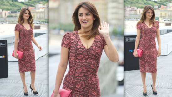 Penelope Cruz Goes Girlie in a Pink Floral Sheath Dress