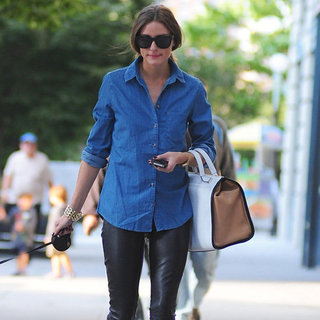 Olivia Palermo Wearing Denim Shirt