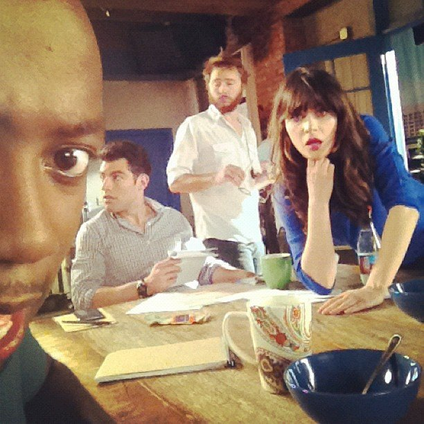 Lamorne Morris caught the cast of New Girl during a candid moment on set. Source: Instagram user lamorne