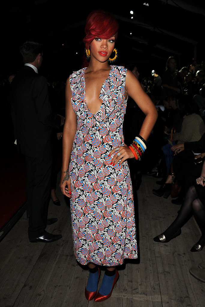 Rihanna made a trip to the Miu Miu show during Paris Fashion Week in October 2010.