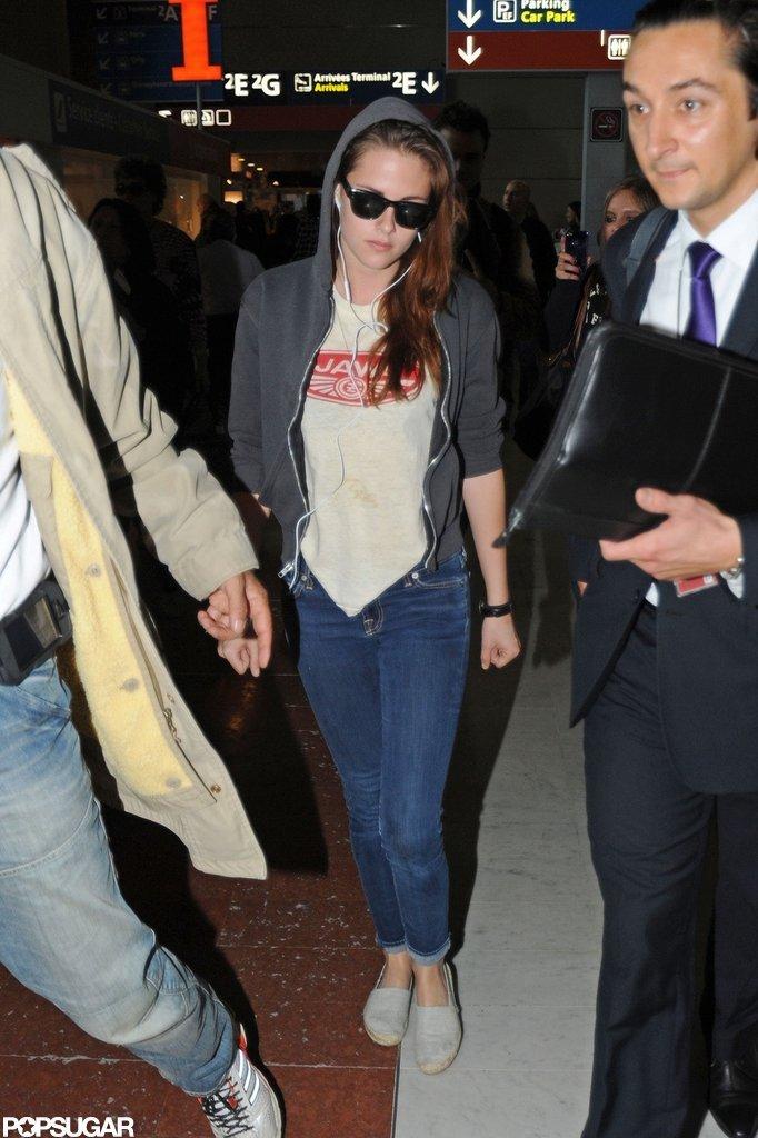 Kristen Stewart Lands in Paris For Balenciaga