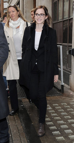 Emma Watson wore her glasses in London.
