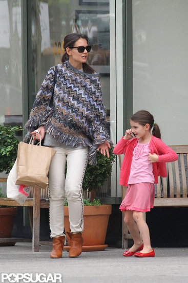 Suri Cruise Takes a Call While Out With Katie Holmes