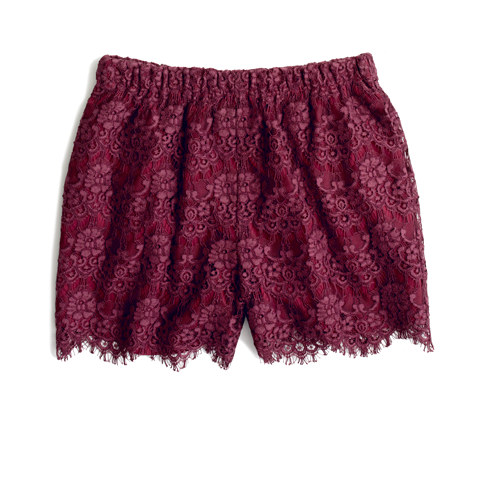 We love the juxtaposition of the warm color and the frilly-feeling lace. Perfect for topping off with a cozy sweater and finishing with suede ankle boots. Madewell Flowerlace Shorts ($88)
