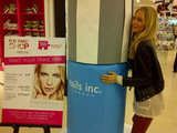 Poppy Delevingne posed with a life-size bottle of nail polish. Source: Twitter user DelevingnePoppy