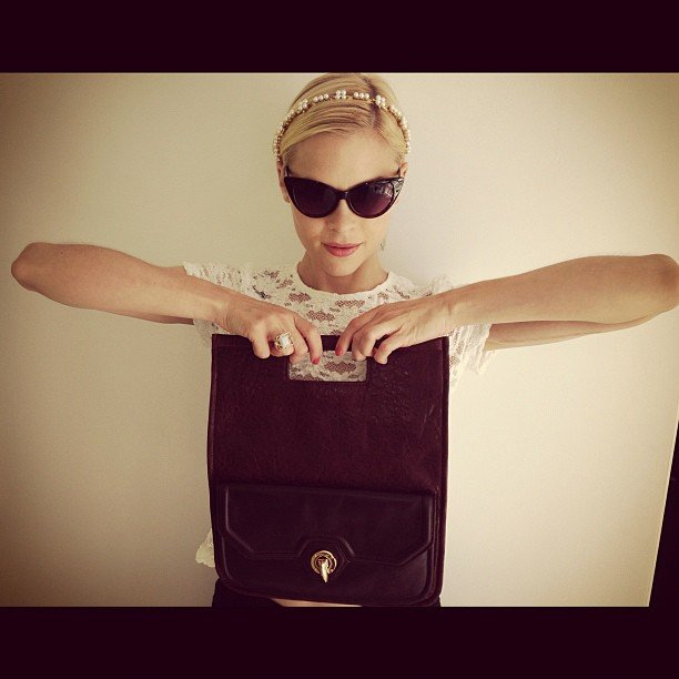 Jaime King showed off a fresh new clutch from Rachel Zoe. Source: Instagram user jaime_king