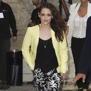 Kristen Stewart Wearing Yellow Leather Jacket