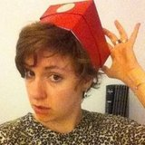 Lena Dunham made a hat out of a box. Source: Instagram user lenadunham