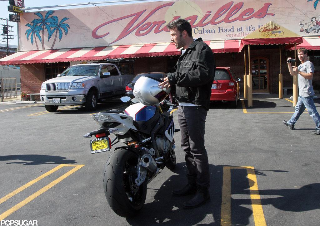 Ben Affleck Makes a Motorcycle Stop For Cuban Food