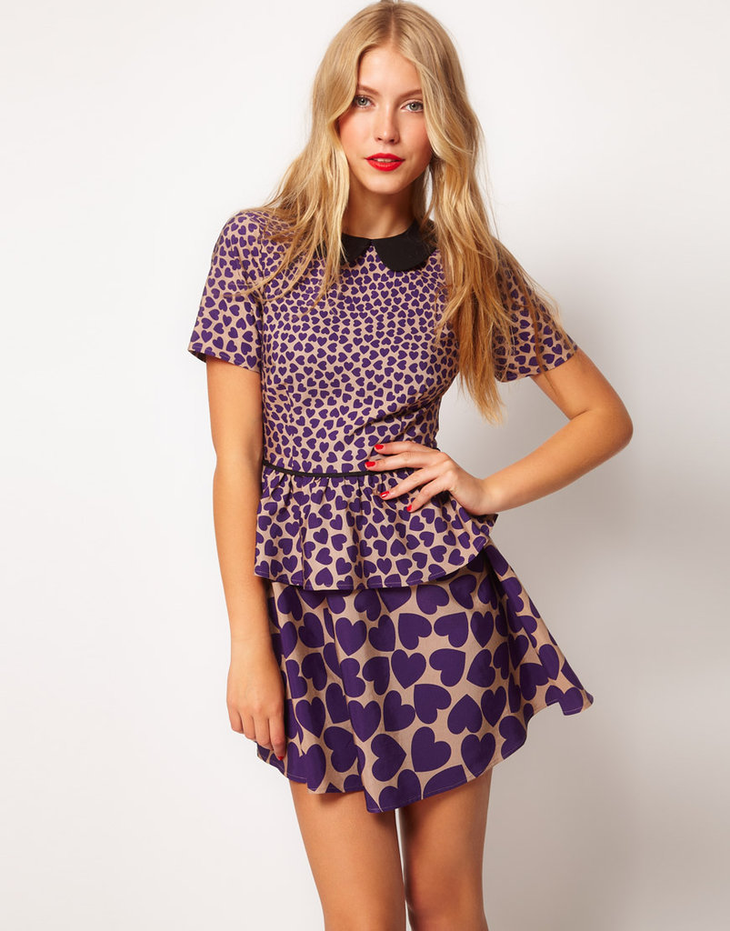 The easiest way to mix prints in an outfit? Having the dress do the mixing for you. This ASOS dress packs a printed one-two punch with its heart print pattern. ASOS Peplum Dress in Heart Print ($73)