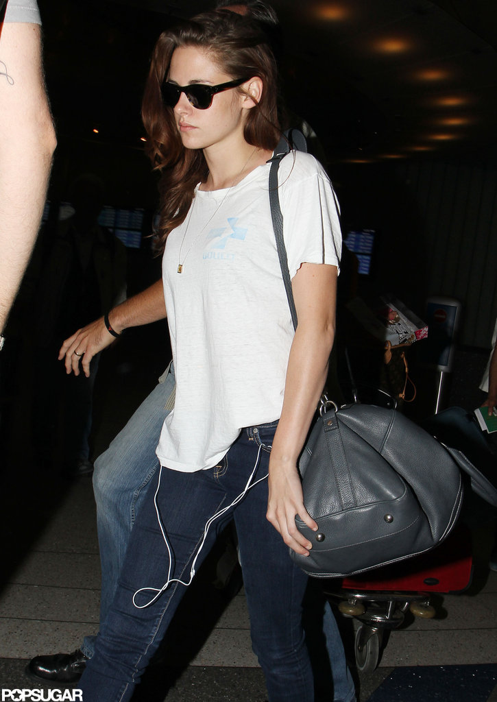 Kristen Stewart kept it casual while traveling.
