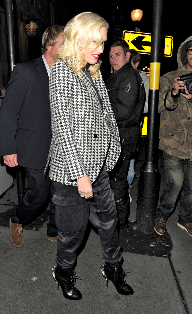 Gwen Stefani wore high heels with spikes for a night out in London.