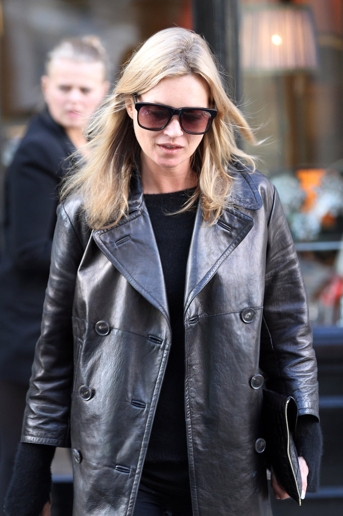Kate Moss wore sunglasses and a leather jacket while walking in Primrose Hill.