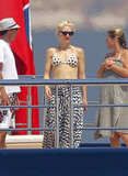 Gwen Stefani flaunted her physique in a polka-dot two-piece while on a yacht in Cannes in May 2011.