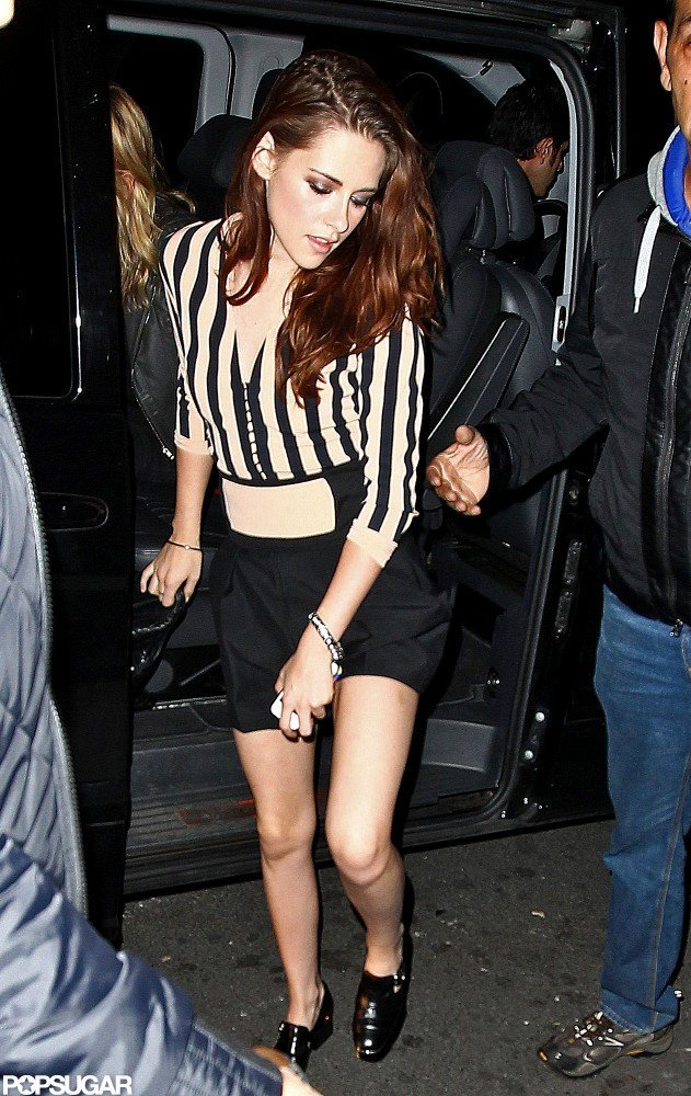 Kristen Stewart Wears Stripes For a Night Out in Paris