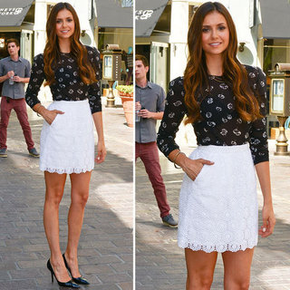 Nina Dobrev's White Lace Skirt And Sheer Black Shirt