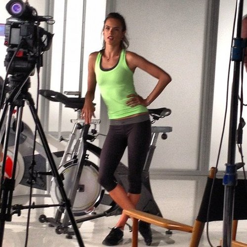 We worked out with Alessandra Ambrosio at a Victoria's Secret video shoot.