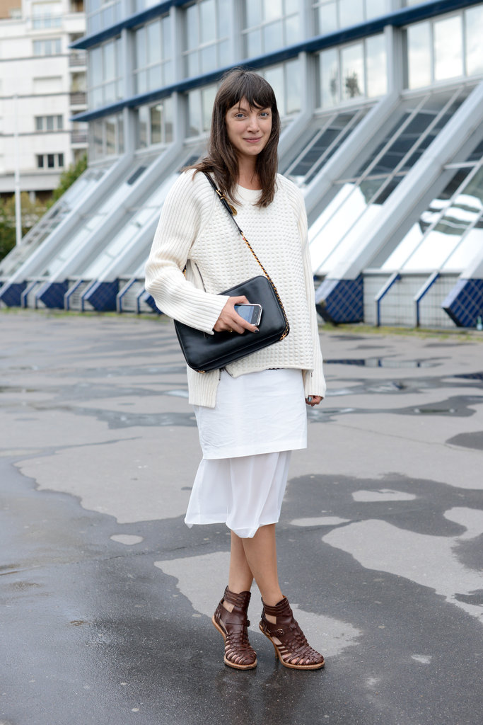 All-white layers got an edge from tougher, gladiator-style heels.