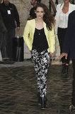 Proving her love for a printed pant hasn't diminished, Kristen Stewart stepped out at Paris Fashion Week sporting a yellow leather Balenciaga jacket and, yep, printed pants. Love the casual sexiness of it all.