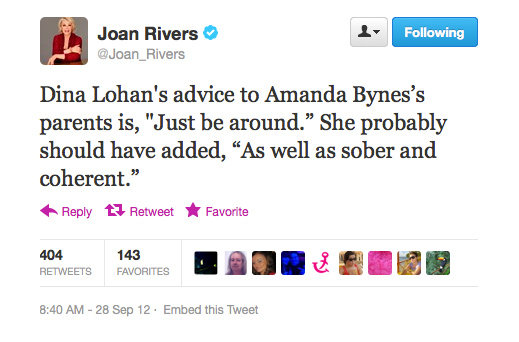 Joan Rivers never lets an opportunity for harsh humour slide by... and we love it!