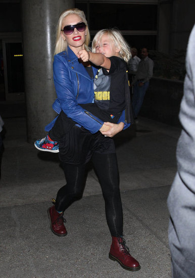 Gwen Stefani landed at LAX with Zuma Rossdale.