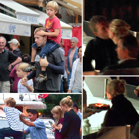 Gwyneth Kisses Chris During Her Birthday Trip With Apple and Moses
