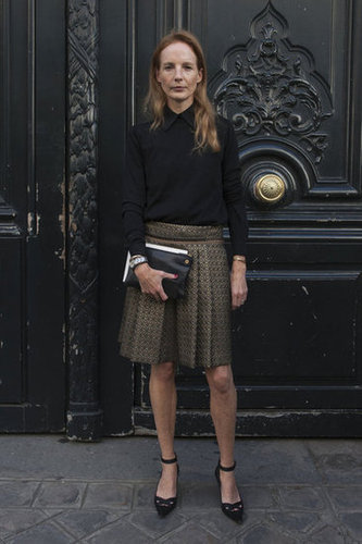 A black button-down lent a touch of the classics to a brocade skirt and ankle-strap heels.