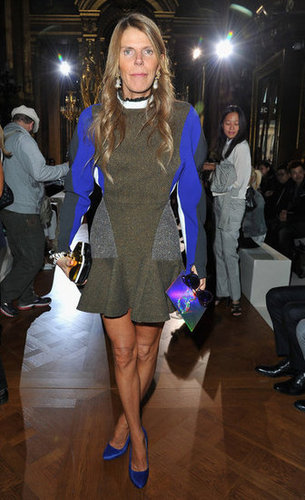 Anna Dello Russo wore one of Stella McCartney's sporty flare-hemed dresses to the designer's Spring 2013 show.