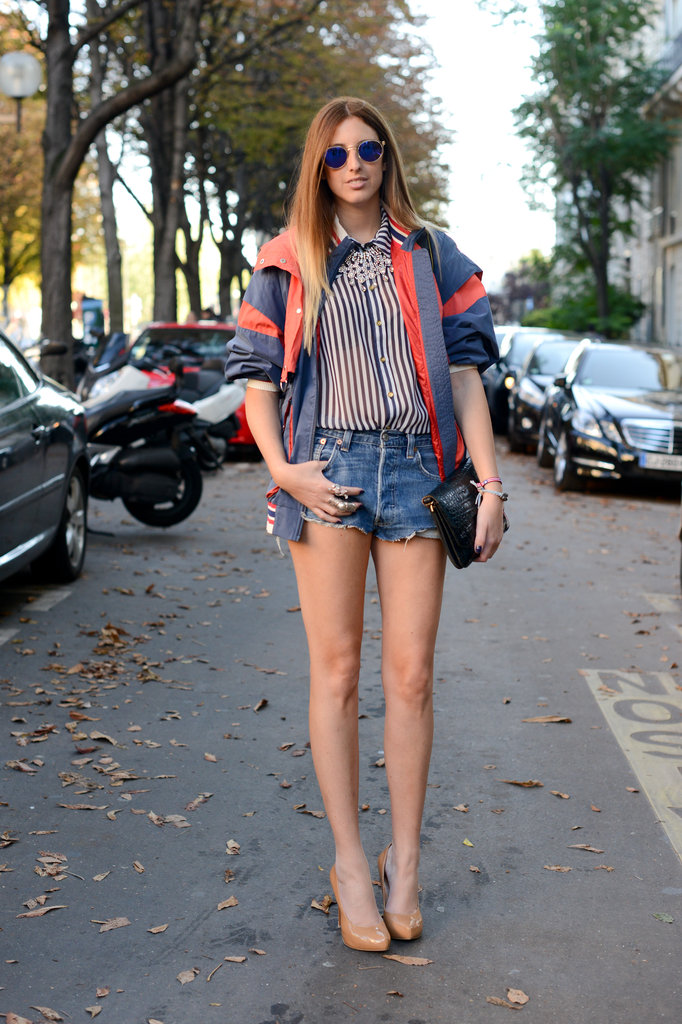 This striped Topshop blouse got a sporty finish with an Isabel Marant jacket.