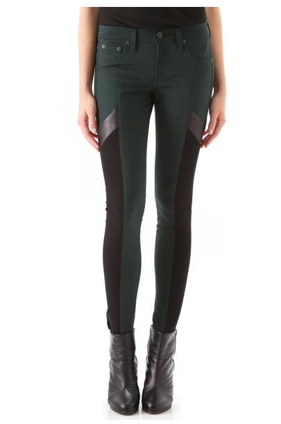 These Rag & Bone Grand Pix Motocross Legging Jeans ($253) are ultraflattering thanks to the smart colorblock detailing. Even more, the forest green and black combo will pair nicely with your Fall jewel tones. — Chi Diem Chau, associate editor