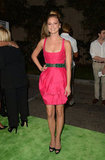 Emily VanCamp went all in on the brights front, choosing a hot-pink Andrew Gn number complete with an embellished emerald green waist belt. Her Valentino peep-toe pumps rounded out the look.