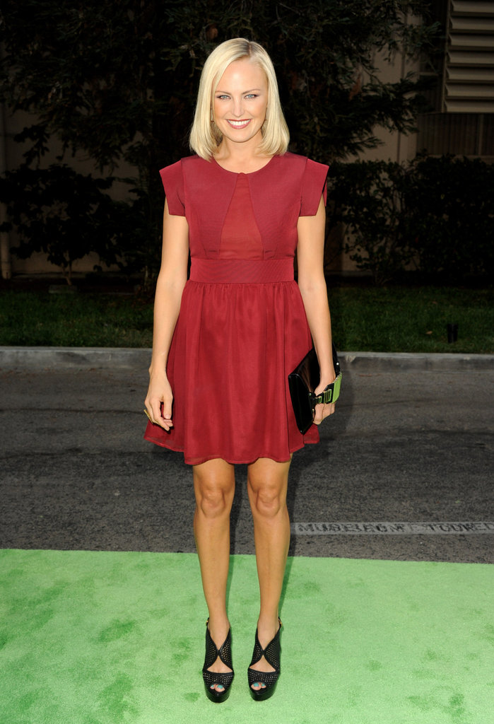 Malin Akerman chose an Alexx Jae & Milk LRD to go with her sexy Prada heels — this is one sultry look for the expecting starlet.