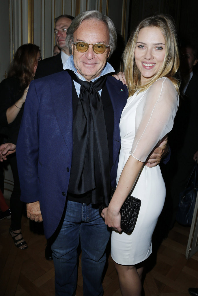 Scarlett Johansson posed with Tod's CEO Diego Della Valle at the Tod's party in Paris.