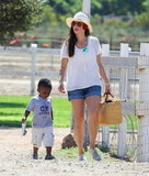 Sandra Bullock carried a basket for an outing with her son.