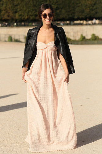 We love the juxtaposition here between the soft, petal-pink strapless and a tough-girl leather jacket.