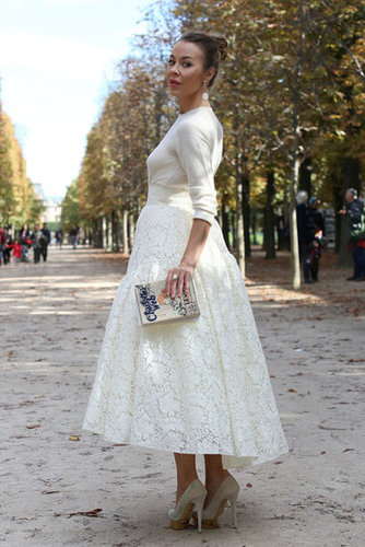 This styler took lovely in white to a whole other level — and how sweet is that clutch?