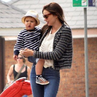 Miranda Kerr Wearing Striped Cardigan