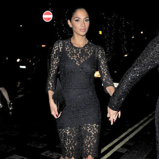 Nicole Scherzinger Wearing Black Lace Dress