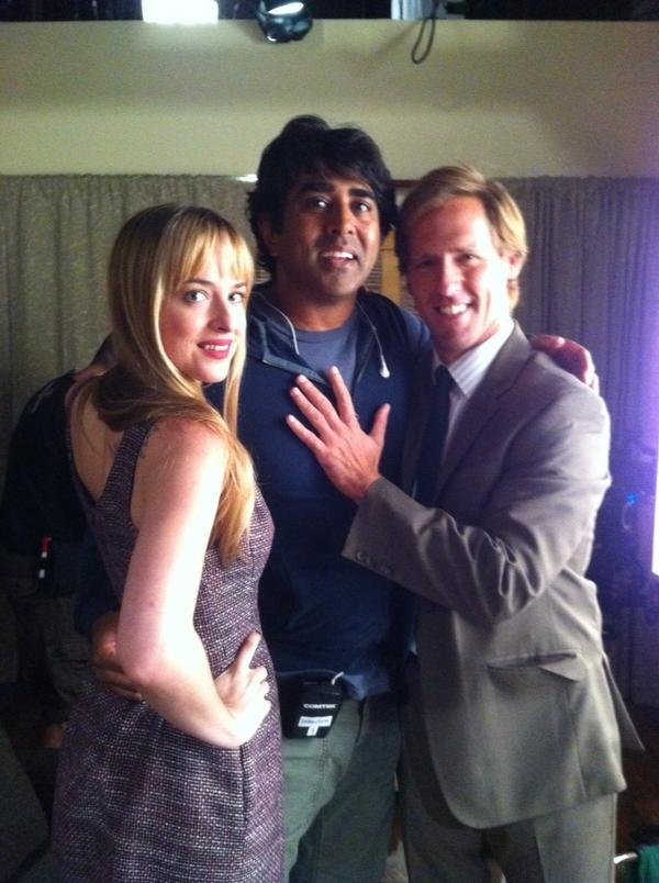 Jay Chandrasekhar hung out on the set of Ben & Kate with stars Dakota Johnson and Nat Faxon. Source: Twitter user JayChandrasekha