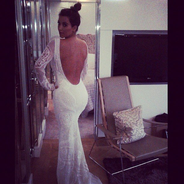 Kim Kardashian started a new round of wedding rumors when she snapped a photo in a wedding dress. Source: Instagram user kimkardashian