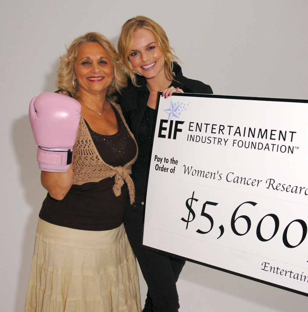 In October 2006, Kate Bosworth posed with Lucille Saraco to help punch a way to the cure with a $5.6 million check for the fight against breast cancer in NYC.