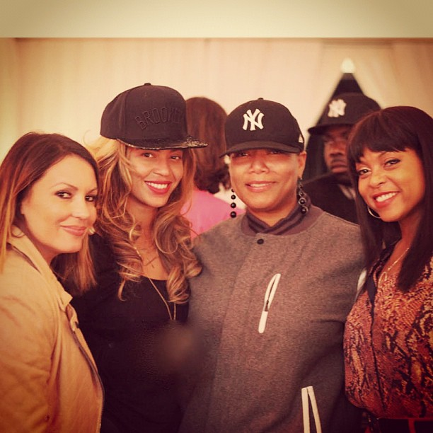 Beyoncé Knowles posed with Queen Latifah, Angie Martinez, and Taraji P. Henson while supporting her husband, Jay-Z, at his Barclays Center concert in New York. Source: Twitter user IAMQUEENLATIFAH