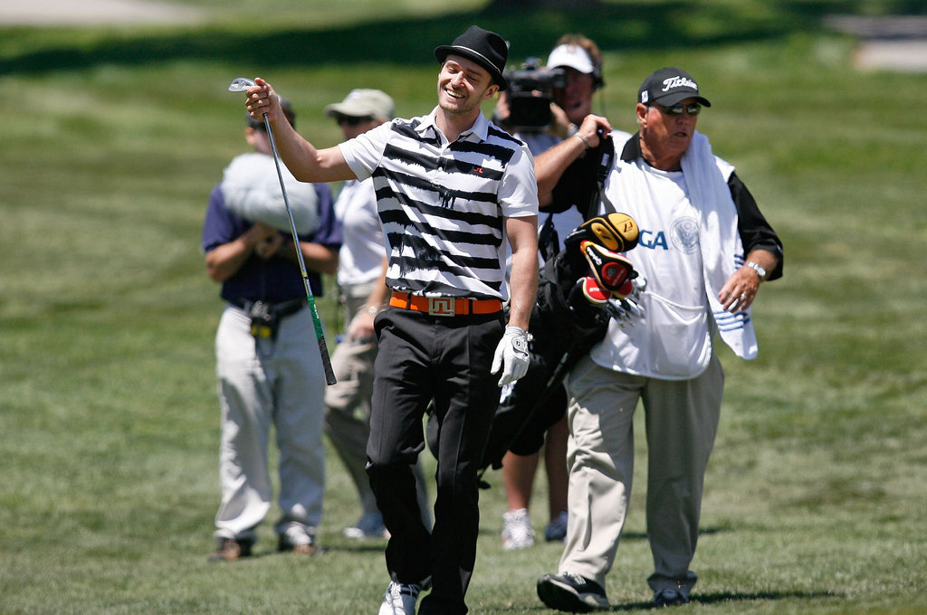 Justin Timberlake got excited during a round at San Diego's Torrey Pines golf course in June 2008.