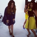 Kim Kardashian's dancing put a smile on Khloé Kardashian's face.  Source: Instagram user kimkardashian