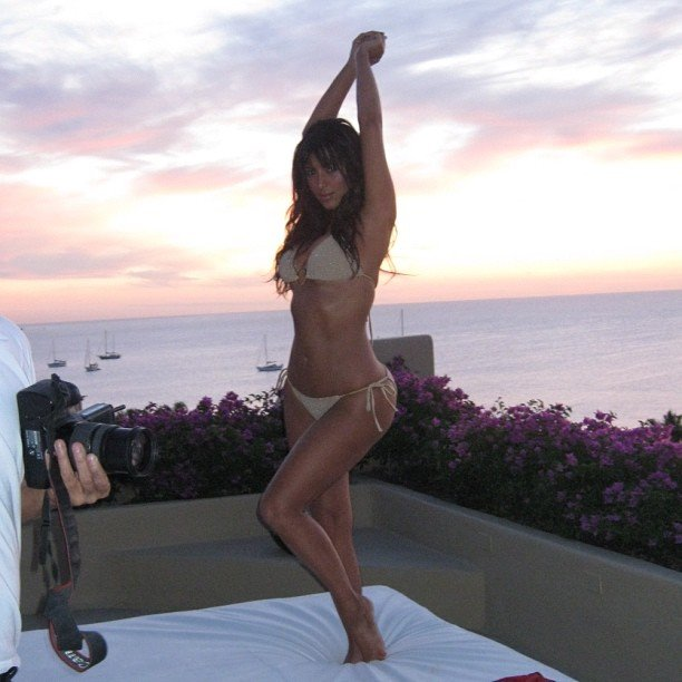 Kim Kardashian struck a bikini-clad pose. Source: Instagram user kimkardashian