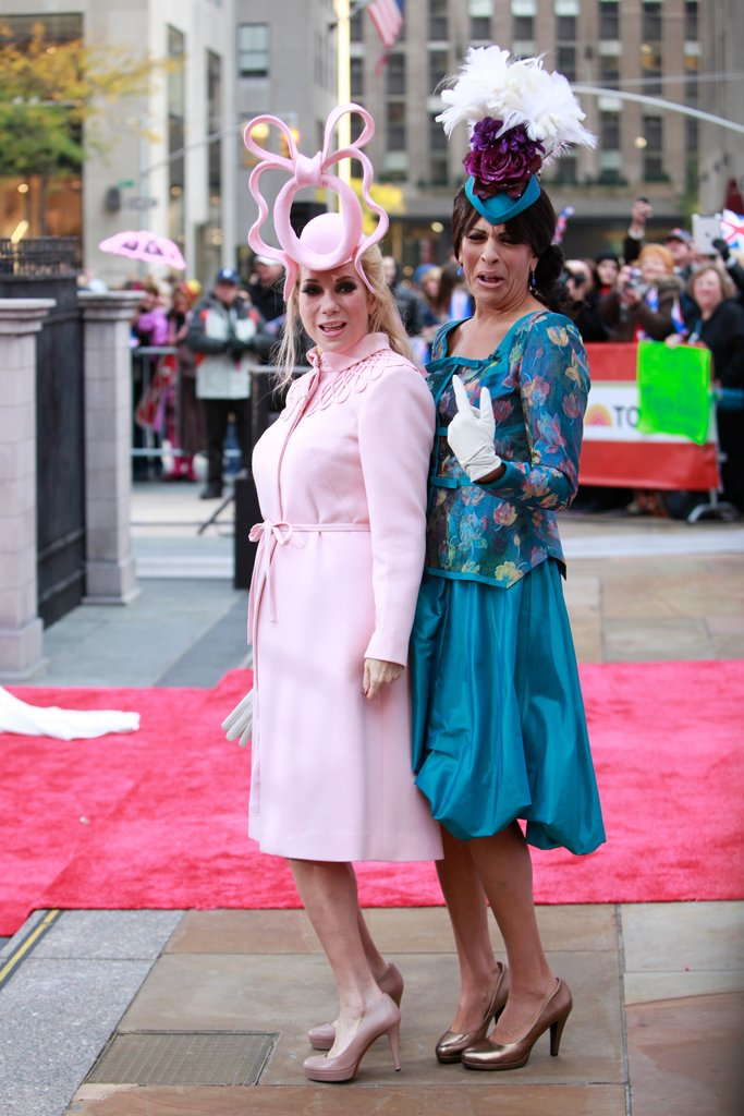Kathie Lee Gifford and Hoda Kotb were Princesses Eugenie and Beatrice —in their royal wedding outfits —during 2011 in NYC.
