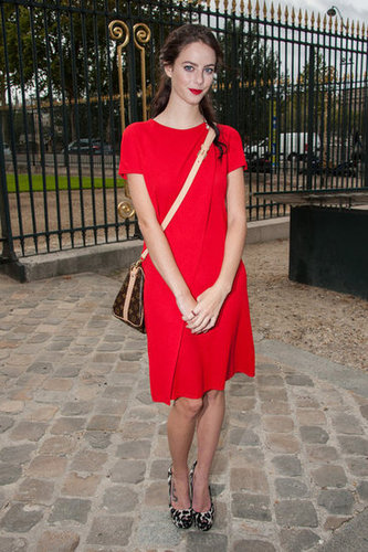 Kaya Scodelario offset her LRD with an iconic Louis Vuitton bag and printed pumps.